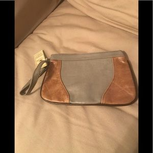 San*Piel Leather 2-tone wristlet new With Tags.